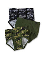 Hanes Classics Boys' No Ride Up Camo Briefs 3-Pack