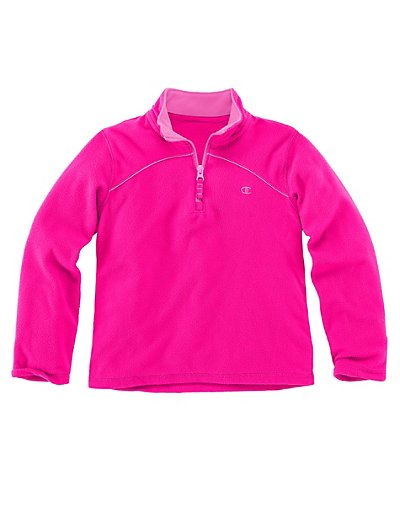 Champion Girls 1 4 Zip Micro Fleece Pullover Knockout Pink Sugar Plum M image