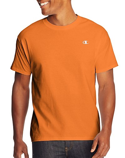 Click here for Champion Cotton Jersey Mens T Shirt Orange M prices