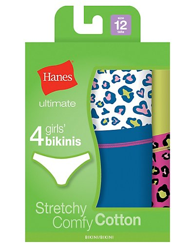 Hanes Ultimate TAGLESS Cotton Stretch Girls' Bikinis 4-Pack