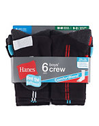 Hanes Boys Crew Comfortblend® Black EZ Sort® Socks 6-Pack