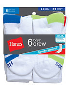 Hanes Boys Crew Comfortblend® White EZ Sort® Socks 6-Pack