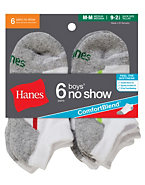 Hanes Boys No Show Comfortblend® White EZ Sort® Socks 6-Pack