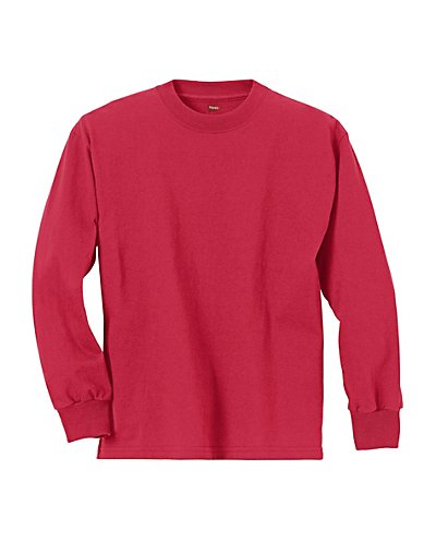 Hanes Youth ComfortSoft TAGLESS Long-Sleeve T-Shirt Deep Red