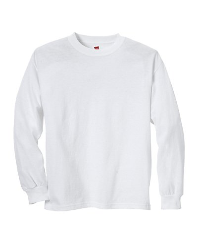 Hanes Youth ComfortSoft TAGLESS Long-Sleeve T-Shirt White L