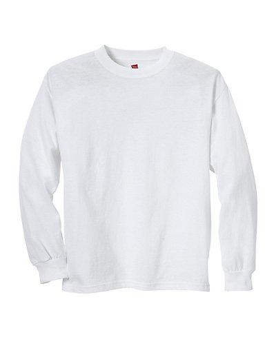 Hanes Youth ComfortSoft TAGLESS Long-Sleeve T-Shirt White L