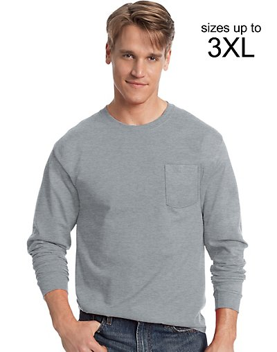 Hanes Men's TAGLESS Long-Sleeve T-Shirt with Pocket Light St