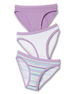Hanes Girls' Stretch Cotton Bikini Panties with ComfortSoft® Waistband 3-Pack