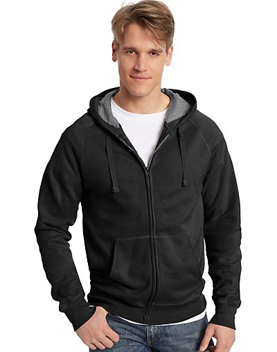 Hanes Men's Nano Premium Lightweight Full Zip Hoodie Black X