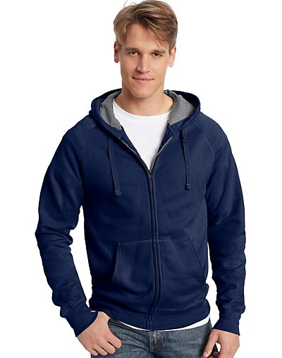Hanes Men's Nano Premium Lightweight Full Zip Hoodie Navy M