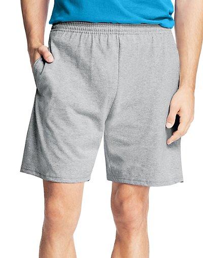 Hanes Men9;s Jersey Pocket Short Light Steel XL