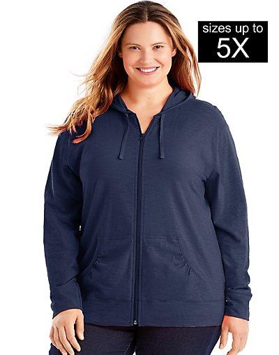 slub cotton zip lightweight hoodie