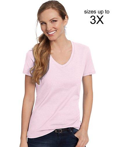 Hanes Women's Nano-T V-Neck T-Shirt Pale Pink L