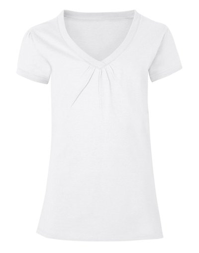 Hanes Girls' Shirred V-Neck Tee White M