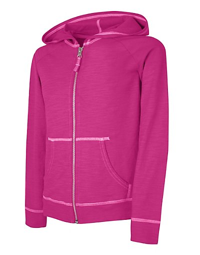Hanes Girls' Slub Jersey Full-Zip Hoodie Amaranth XS