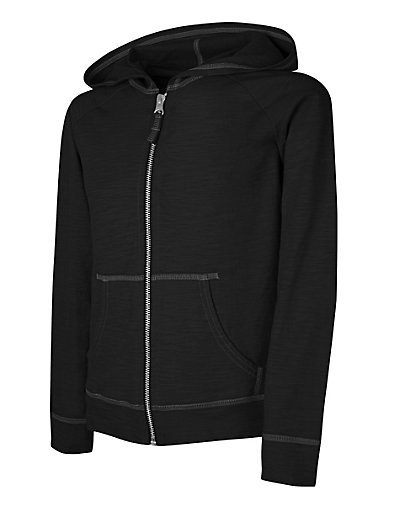 Hanes Girls' Slub Jersey Full-Zip Hoodie Black L