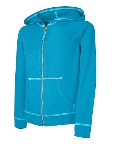 Hanes Girls' Slub Jersey Full-Zip Hoodie Process Blue L
