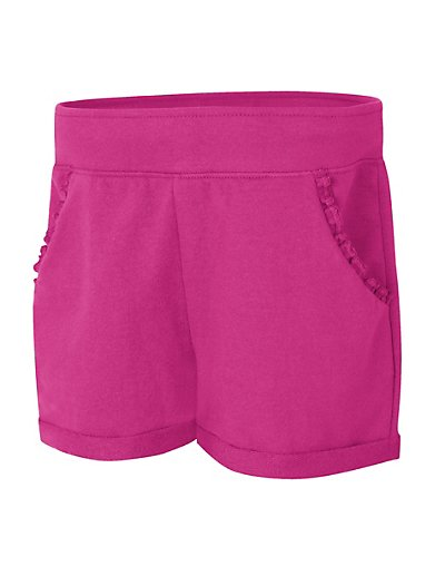 Hanes Girls' Ruffle Pocket Short Amaranth L