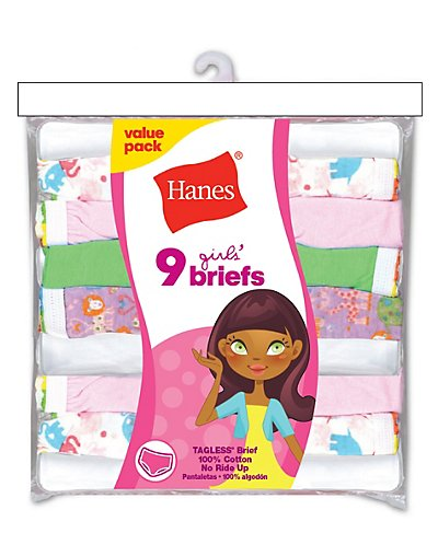 Hanes Girls' No Ride Up Cotton Colored Briefs 9-Pack Assorte