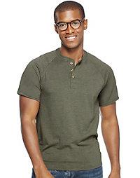 Hanes Men's ComfortBlend® Short-Sleeve Solid Raglan Henley
