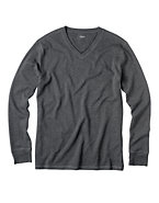 Hanes Long-Sleeve Waffle Thermal V-Neck