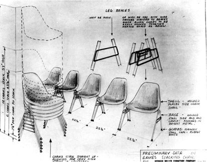 Prototype drawing for Eames Molded Plastic Side Chair