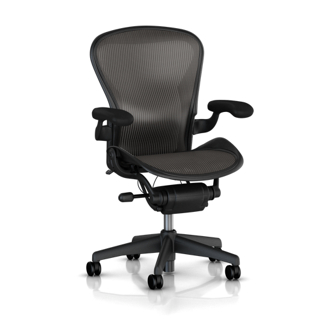 Aeron Chair - Medium Size - Adjustable Arms - Black Leather Armpads - Lumbar Support - Carbon Classic Weave Seat and Back