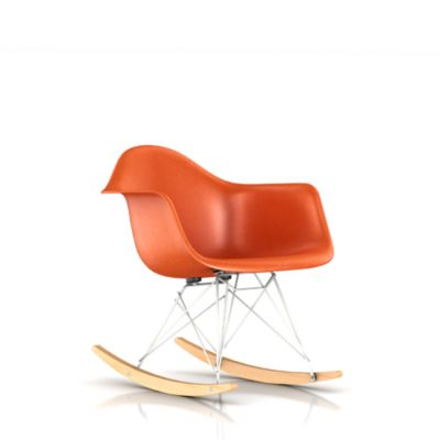Eames Molded Fiberglass Upholstered Armchair Rocker Base