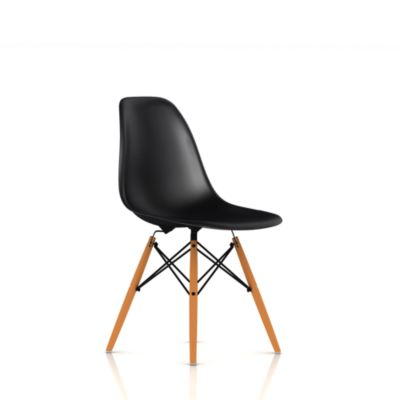 Eames Molded Plastic Side Chair with Wood Dowel Base Thank You