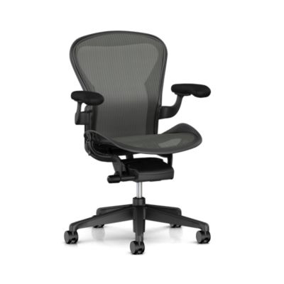 Aeron Chair - B Size - Standard Tilt - Stationary Arms - Zonal Back Support - Graphite