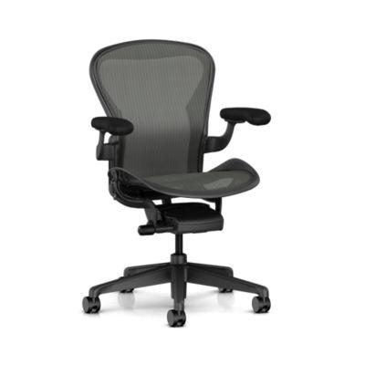 Aeron Chair - C Size - Tilt Limiter Seat Angle Adj - Fully Adj Arms - Adj PostureFit SL - Graphite - Quiet Roll