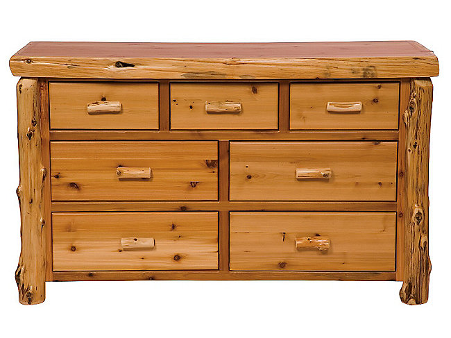 Cedar Log 7 Drawer Dresser