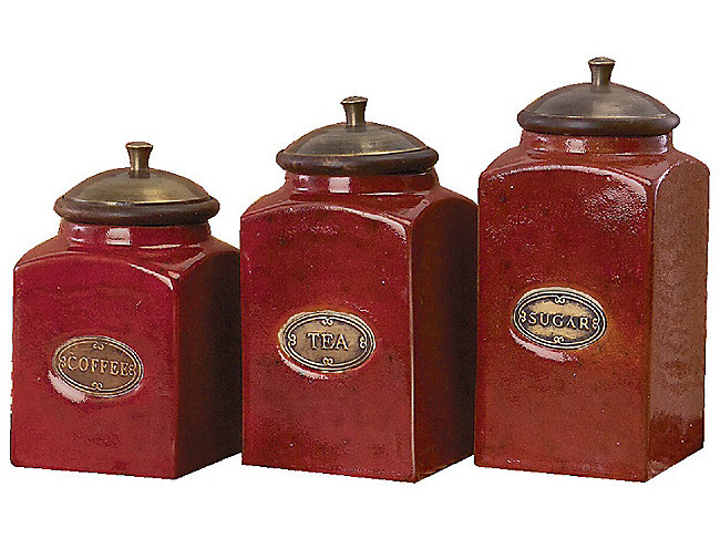 Red Canisters Set Of 3 Hom Furniture