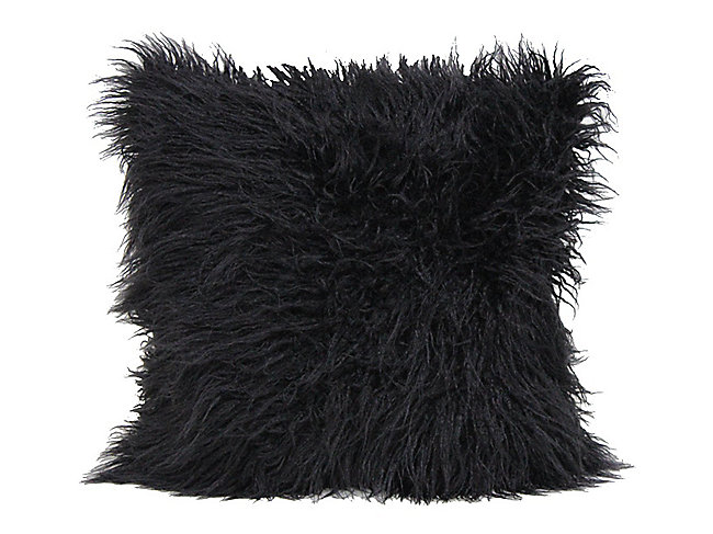 Mongolian Fur Accent Pillow - Black