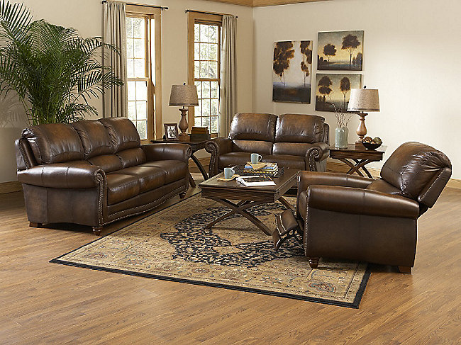 Parker 3 piece leather room package hom furniture for Furniture 3 room package
