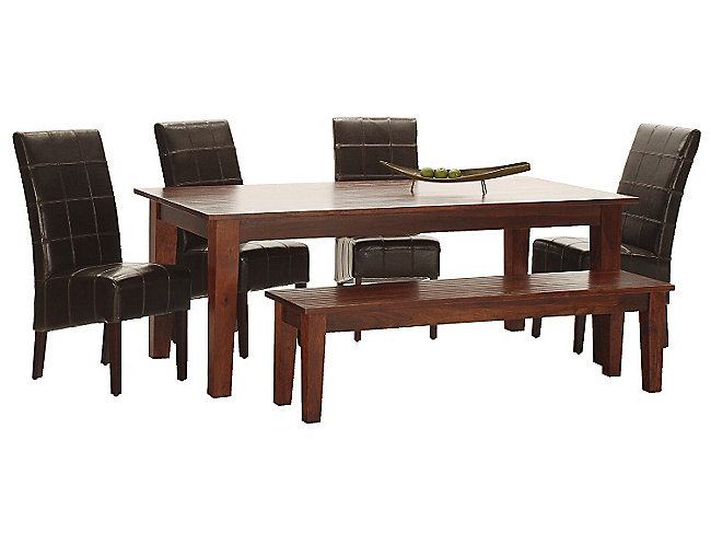 dining table set sheesham wood furniture chair bench seat