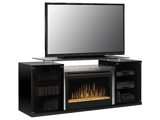 Marana Electric Fireplace With Tumbled Glass