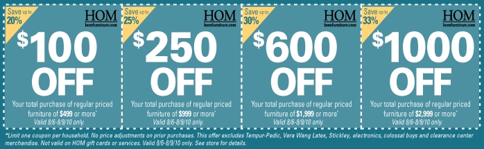 Hom furniture coupon code