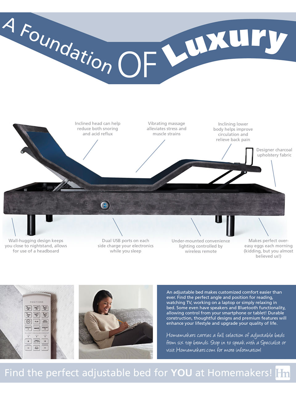 An adjustable base can help you craft a night of better sleep.