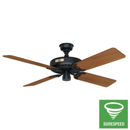 52 black ceiling fan outdoor original 23863 hunter fan for Hunter ceiling fan motor