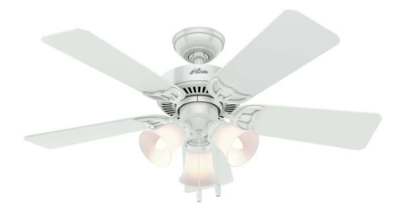 44 White Ceiling Fan Quiet Breeze 51005 Hunter Fan