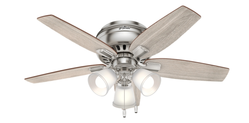 42 Quot Brushed Nickel Chrome Ceiling Fan Echo Bluff 51075 Hunter Fan