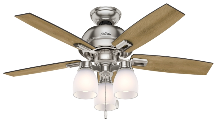 44 Quot Brushed Nickel Chrome Ceiling Fan Donegan Three