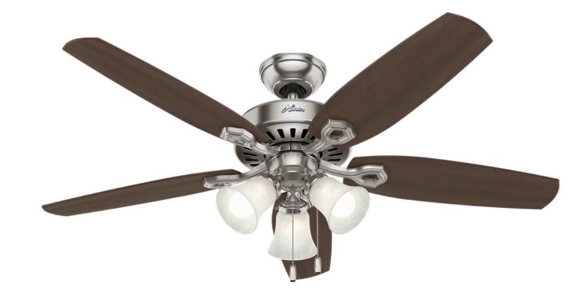 52 Quot Brushed Nickel Chrome Ceiling Fan Builder Plus 53237 Hunter Fan