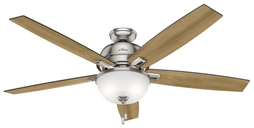60 Quot Brushed Nickel Chrome Ceiling Fan Donegan Bowl Light