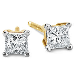 1/3 CT. T.W. Princess Diamond Studs 14K Yellow Gold