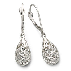 Drop Earrings, Filigree Teardrop 14K White Gold