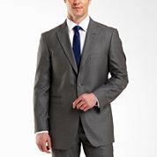 JF J. Ferrar® 2–Button Gray Sharkskin Suit Jacket–Big & Tall