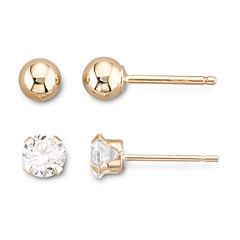 10K Yellow Gold Ball & Cubic Zirconia Stud Earring Set