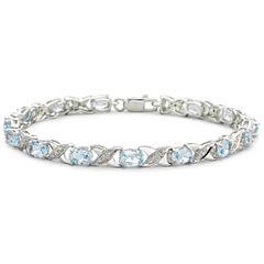Genuine Blue Topaz and Diamond-Accent Bracelet